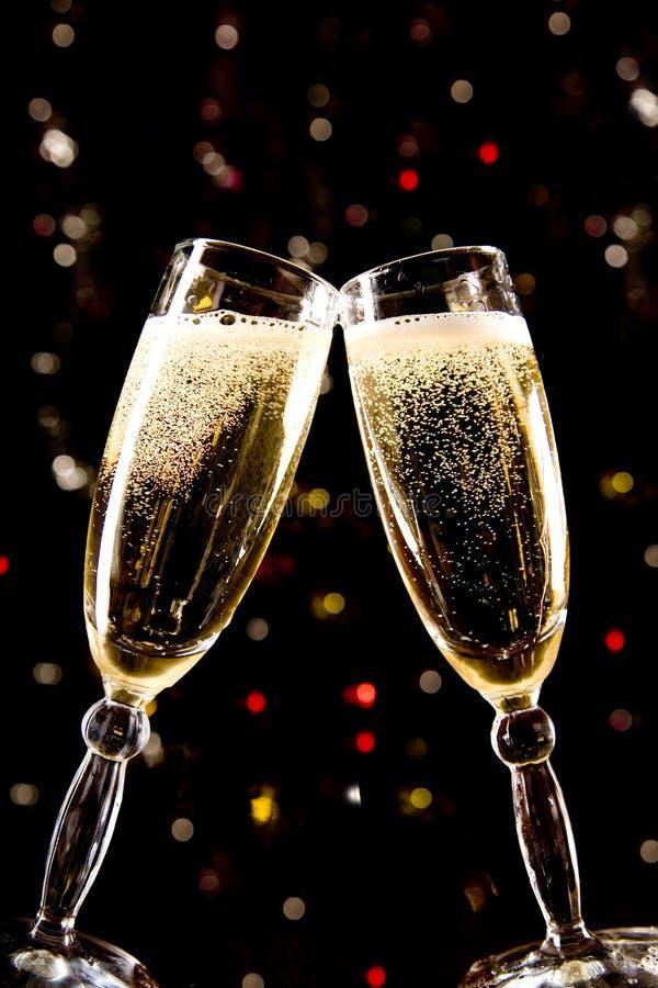 做多士二的香槟玻璃 库存照片