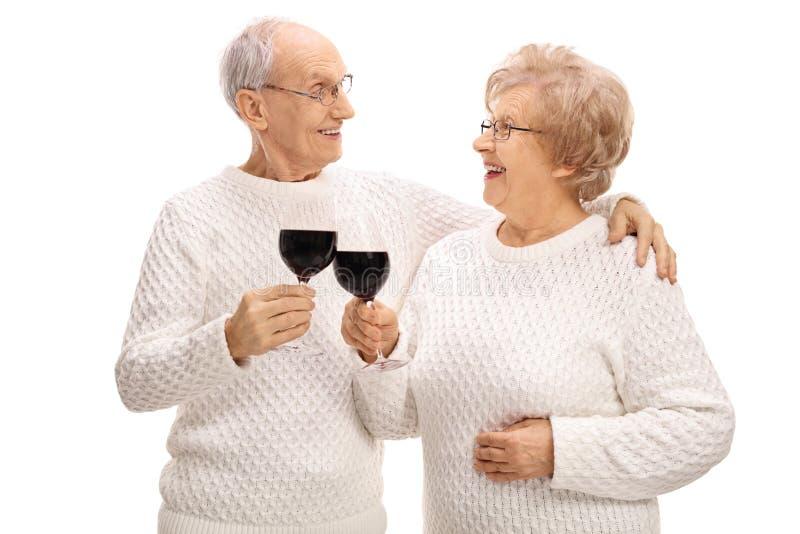 做多士用酒的成熟夫妇 库存图片