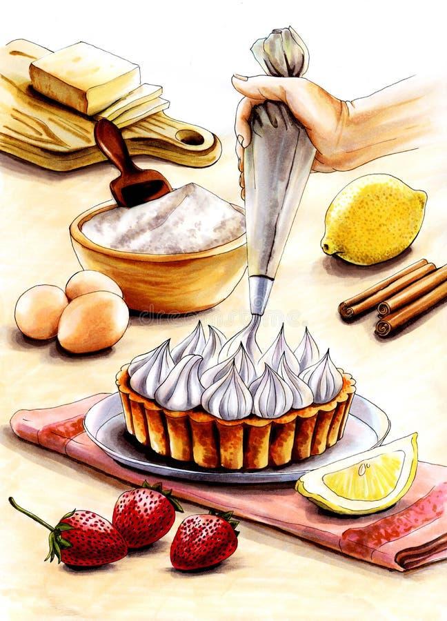 做奶油馅饼的过程的例证 向量例证