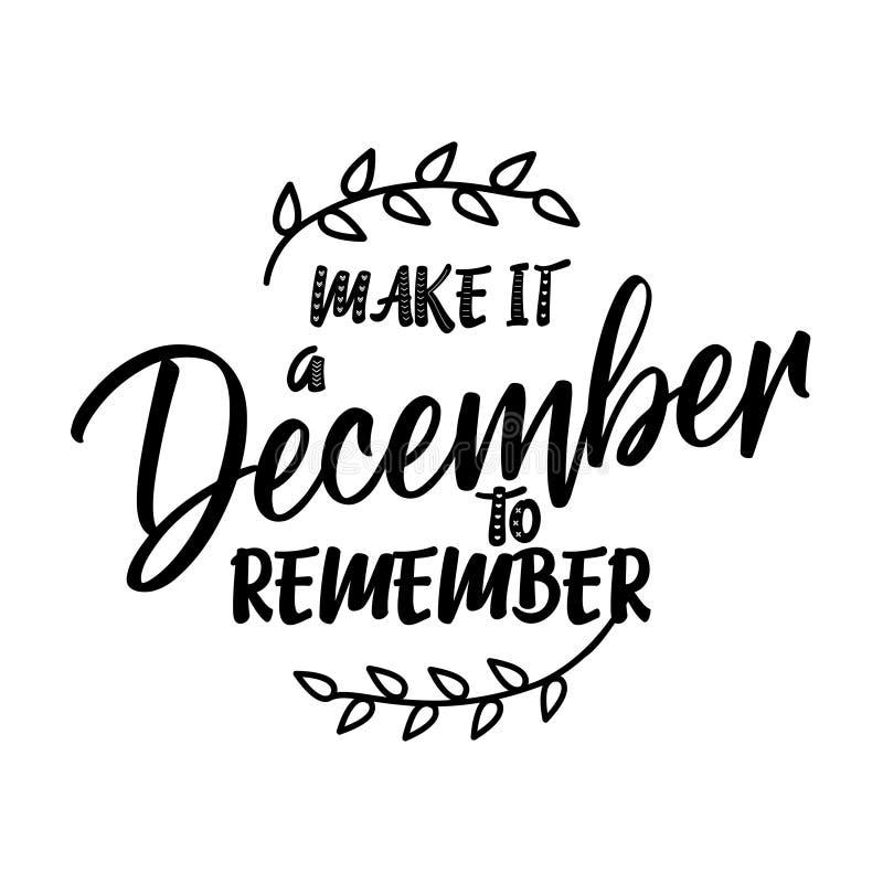做它12月记住-圣诞节的书法词组 皇族释放例证