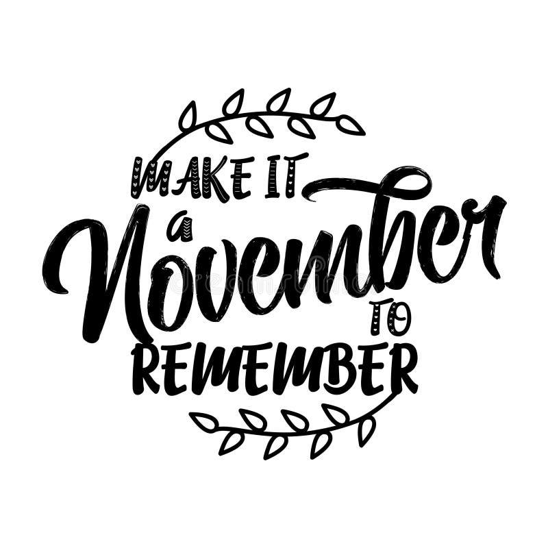 做它11月记住-在文本上写字 向量例证