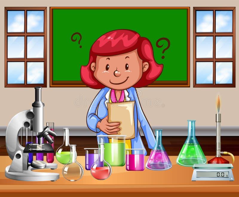 做实验室的理科教员 库存例证