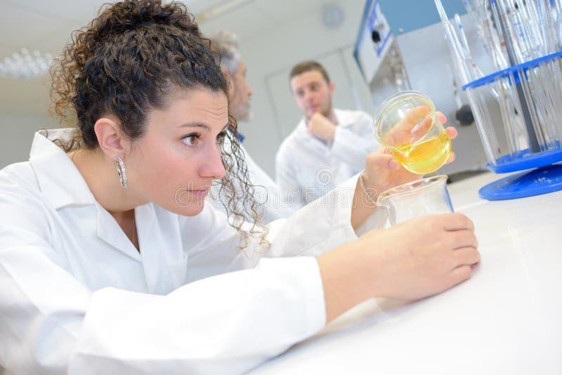 做实验的年轻科学家在有化学液体的实验室 库存图片