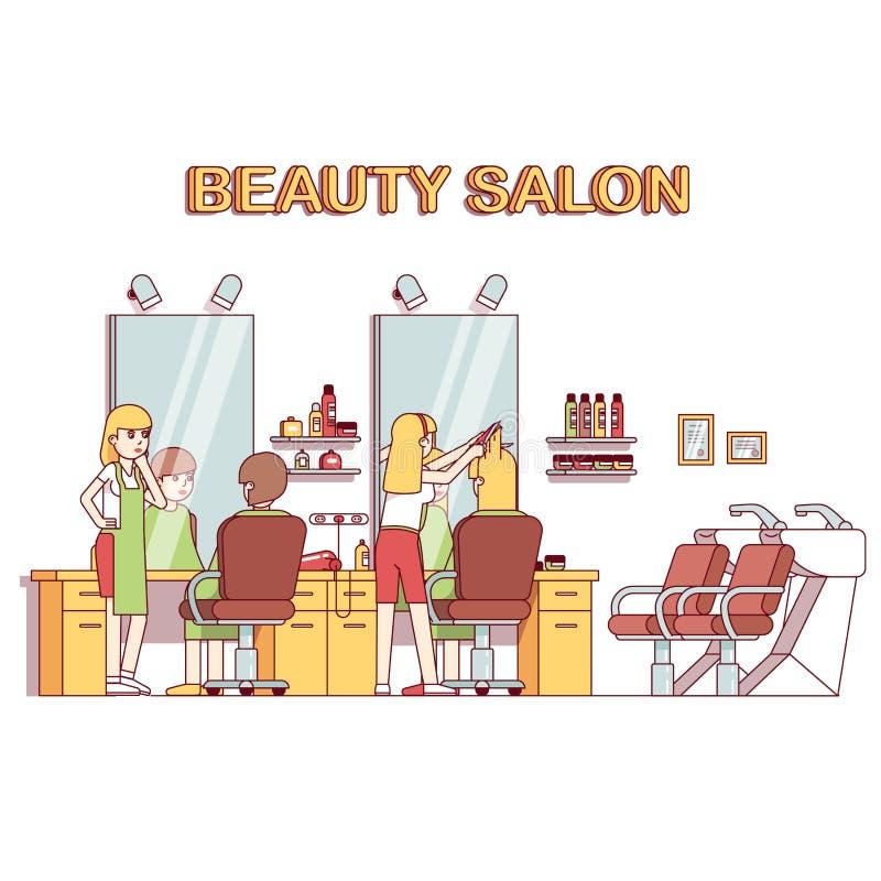 做客户女孩发型的美发师美发师 库存例证
