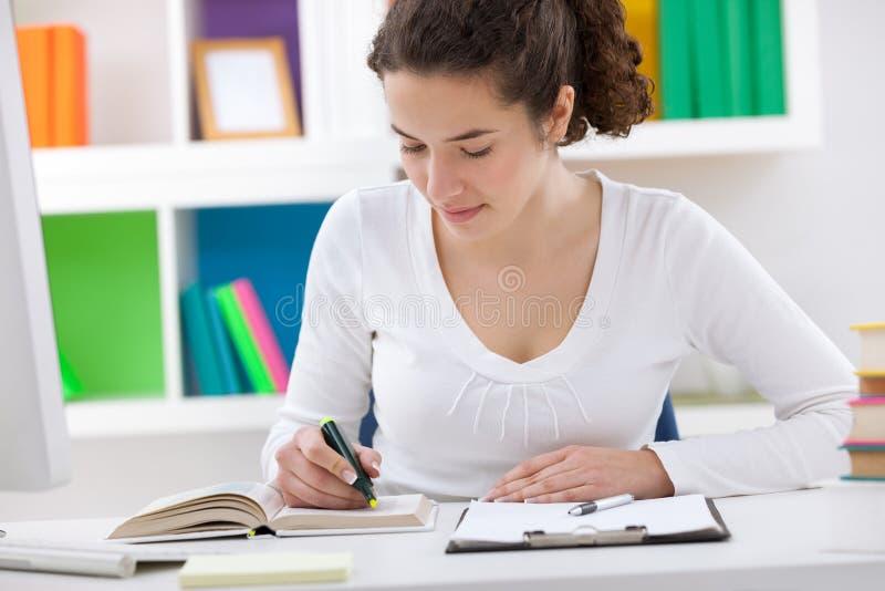 做家庭作业的少年学生 免版税库存照片