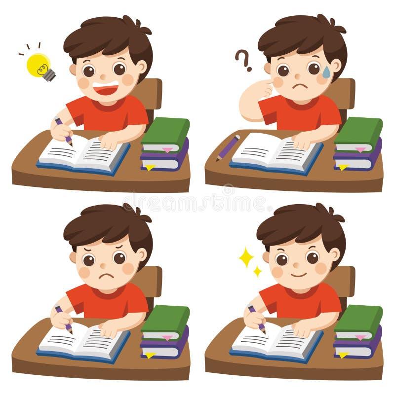 做家庭作业的男孩学生的每日天 皇族释放例证