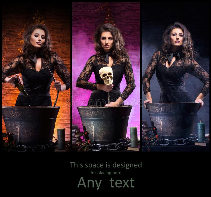 做巫术的年轻和美丽的巫婆不同的照片  免版税库存图片