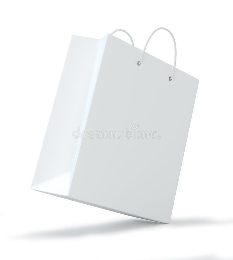 做广告和烙记的空的购物袋 背景查出的白色 3d翻译 向量例证
