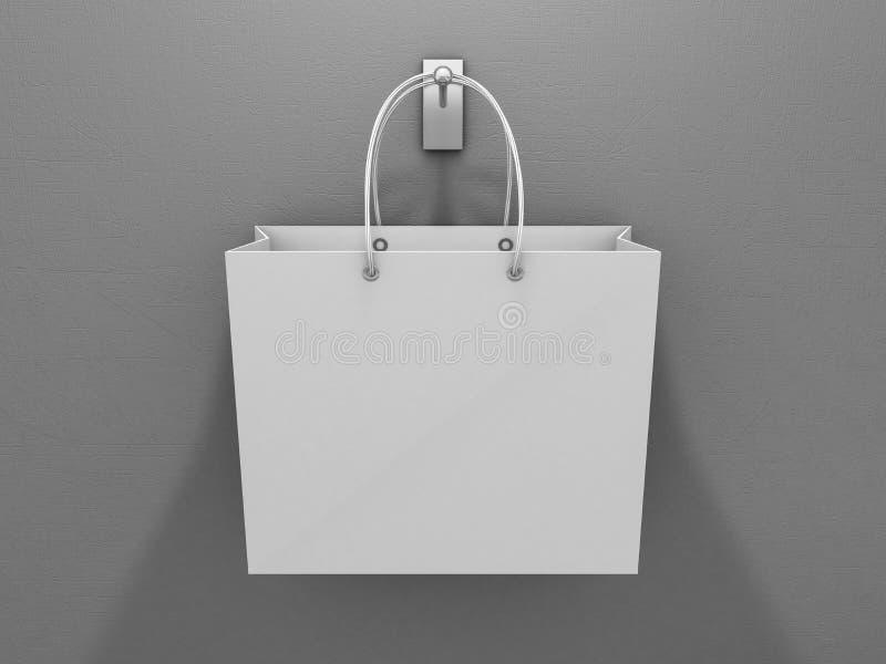 做广告和烙记的空的购物袋 3d 向量例证