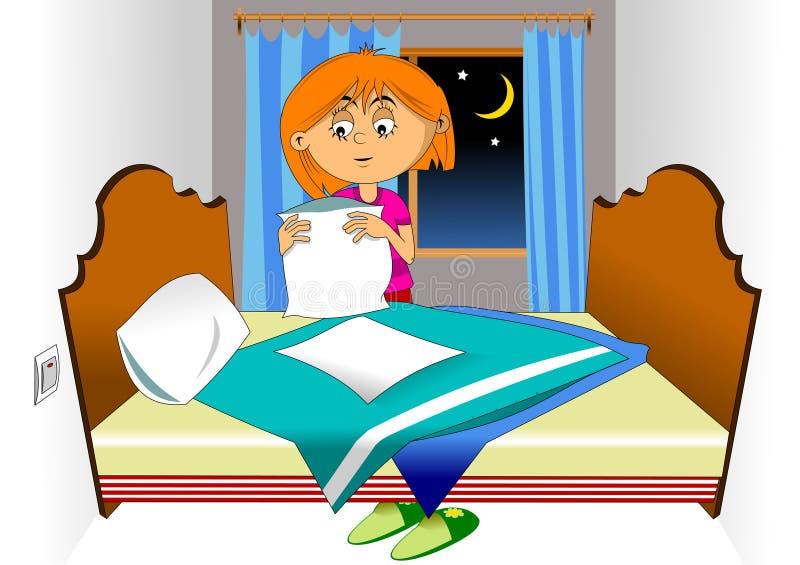 做床 向量例证