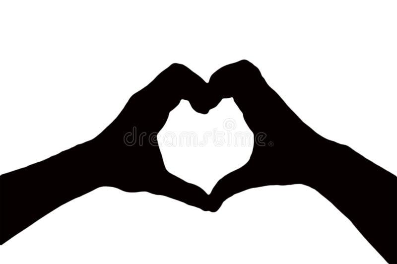 做心形一起被隔绝的两只手剪影在白色背景,情人节概念 免版税库存照片