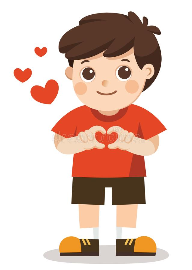 做心脏形状用他的手的一个逗人喜爱的男孩 皇族释放例证