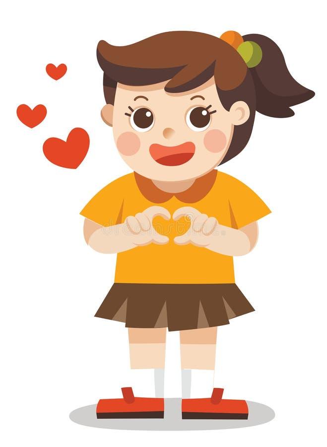 做心脏形状用她的手的一个逗人喜爱的女孩 被隔绝的传染媒介 向量例证