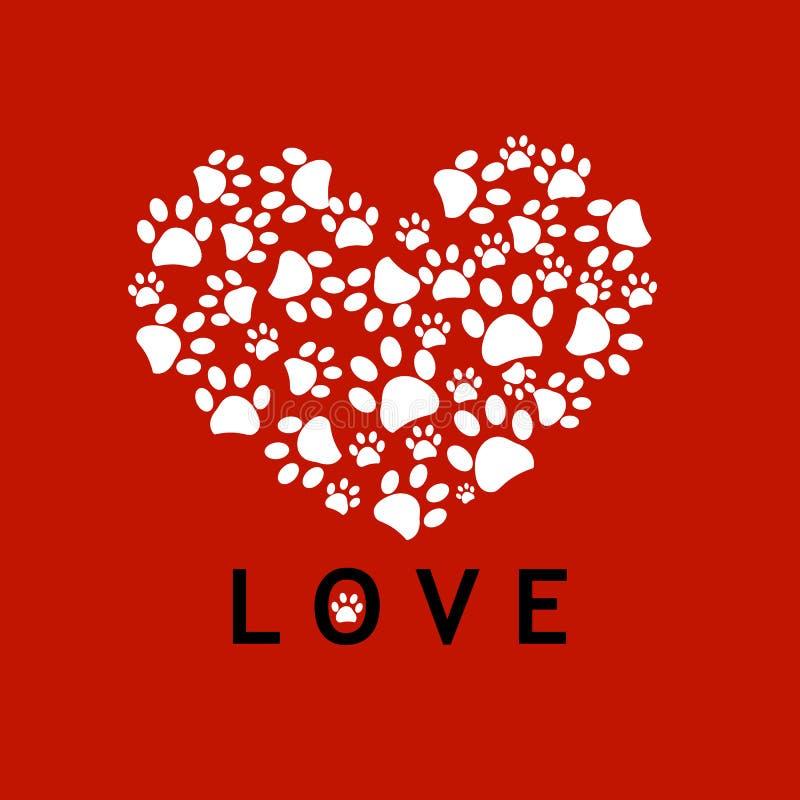 做心脏爪子打印有红色背景 库存例证