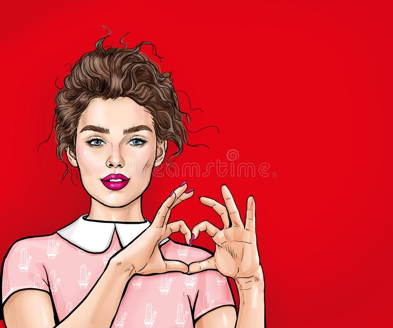 做心脏用她的手的美丽的年轻女人在红色背景 正面人的情感表示感觉的生活肢体语言 库存例证