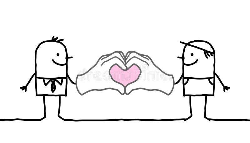 做心脏的动画片人签字用他们的手 向量例证