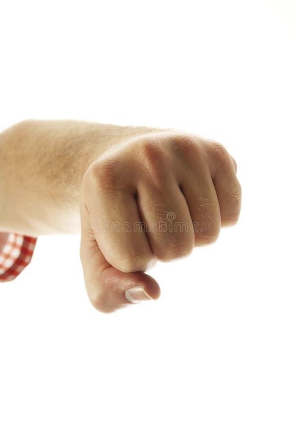 做拳头,特写镜头的手 库存照片