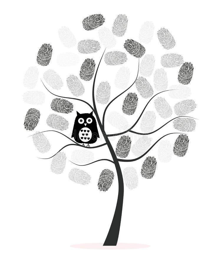 做指纹树有黑猫头鹰传染媒介背景 库存例证