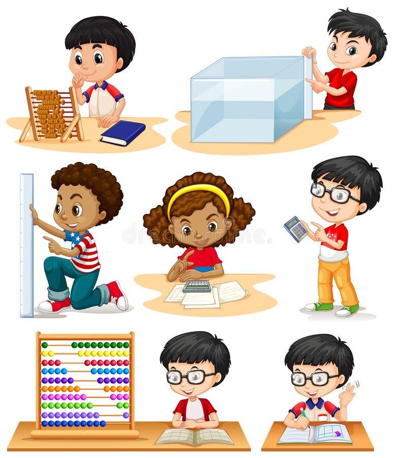 做数学题的男孩和女孩 向量例证