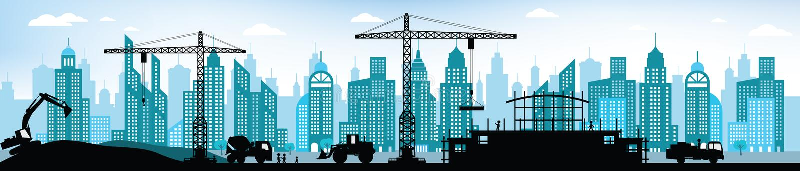 做新的大厦在城市 库存例证