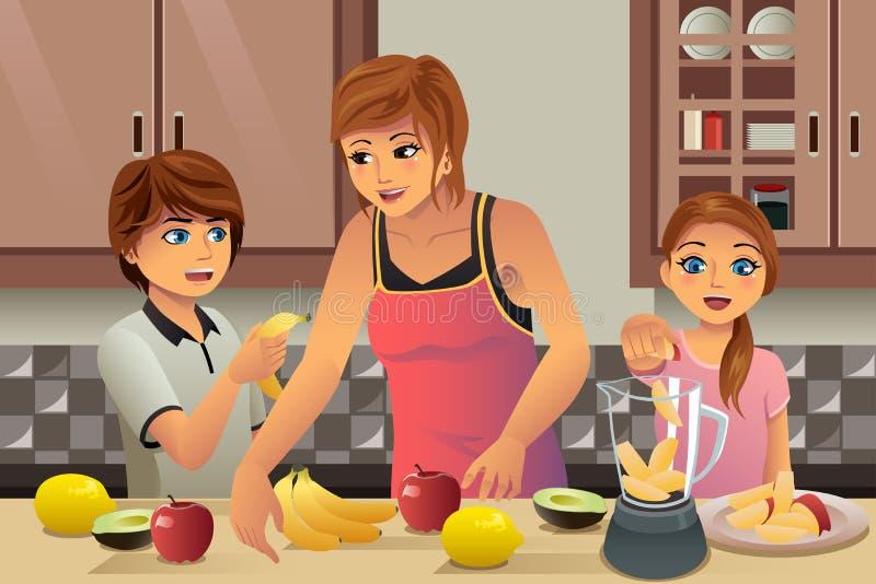 做新鲜的汁液的母亲孩子 库存例证