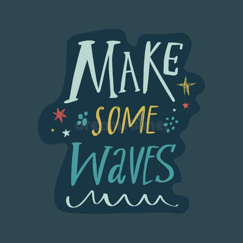 做有些波浪激动人心的词组乱画字法,旅行行情 库存例证