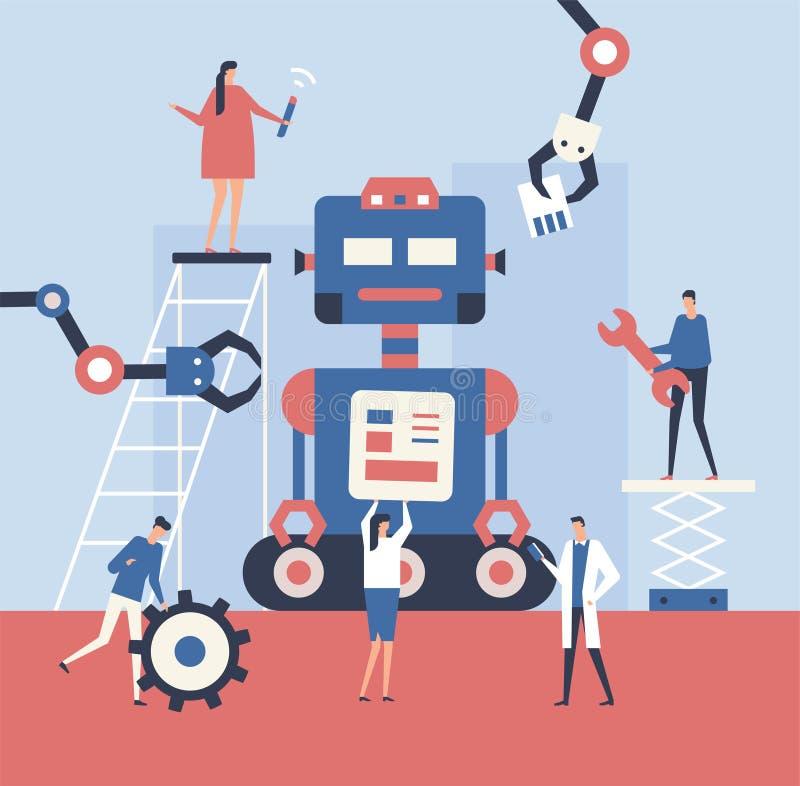 做机器人-平的设计样式例证 库存例证