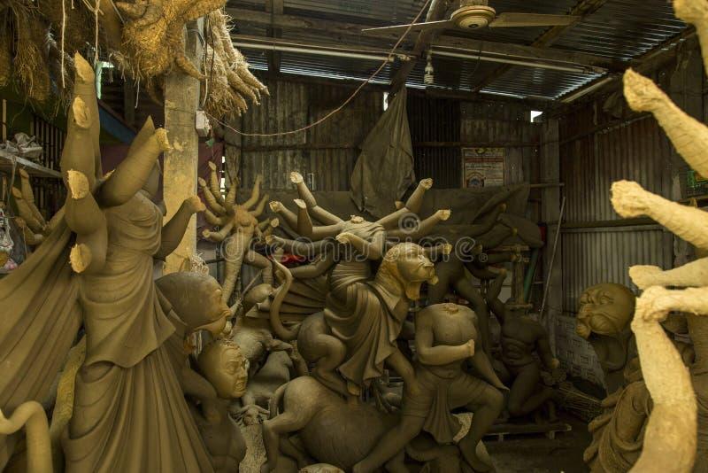 做杜尔加雕象孟加拉国 库存照片