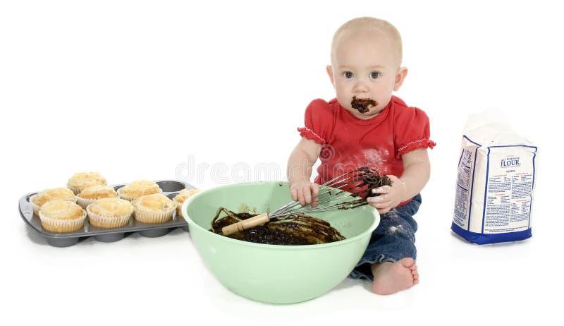 做松饼的婴孩 库存图片