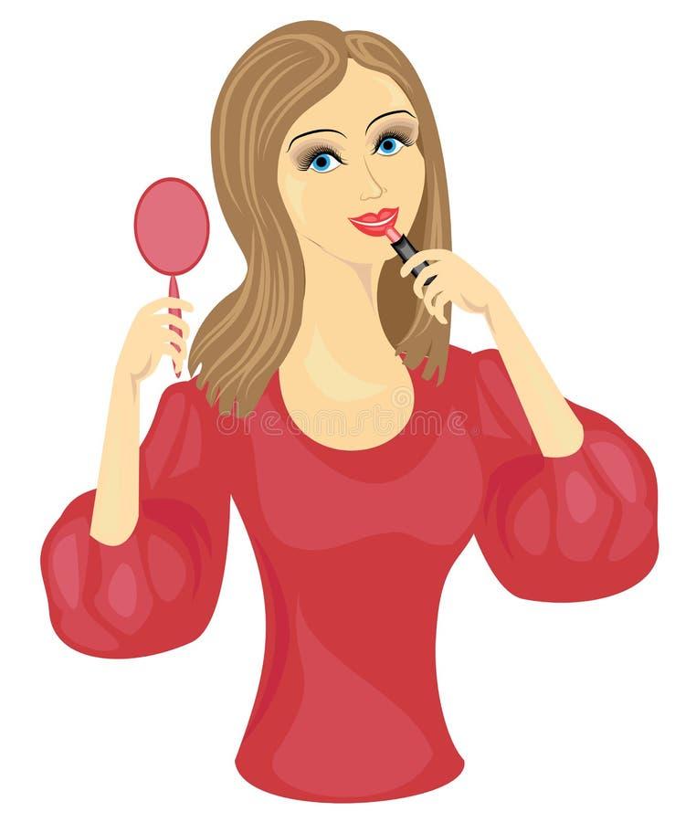 做构成的一个甜夫人 女孩绘她的有一红色口红的嘴唇在镜子前面 r 库存例证