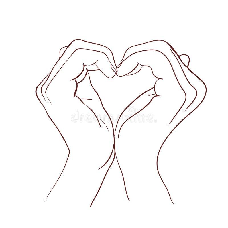 做标志心脏的手 也corel凹道例证向量 免版税库存照片