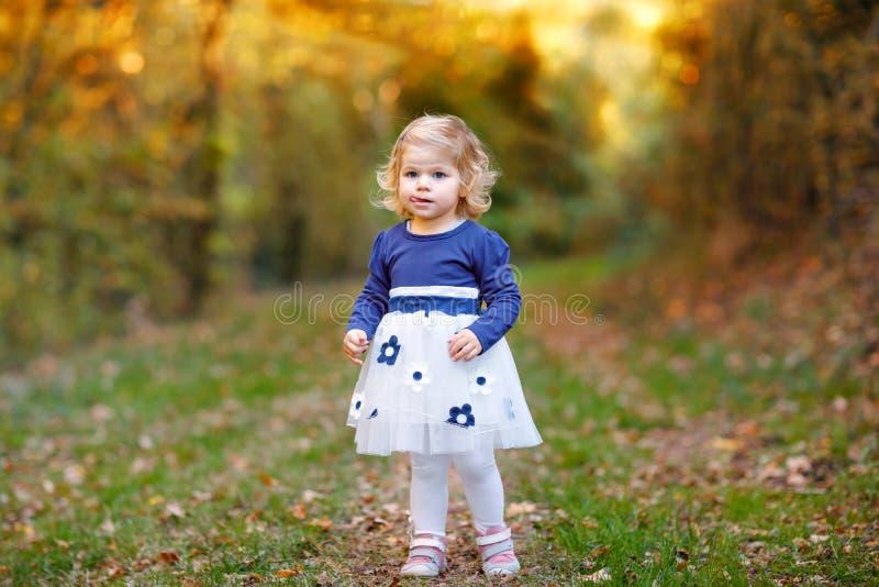 做步行的逗人喜爱的矮小的小孩女孩通过秋天公园 享受走与父母的愉快的健康婴孩 晴朗温暖 库存图片