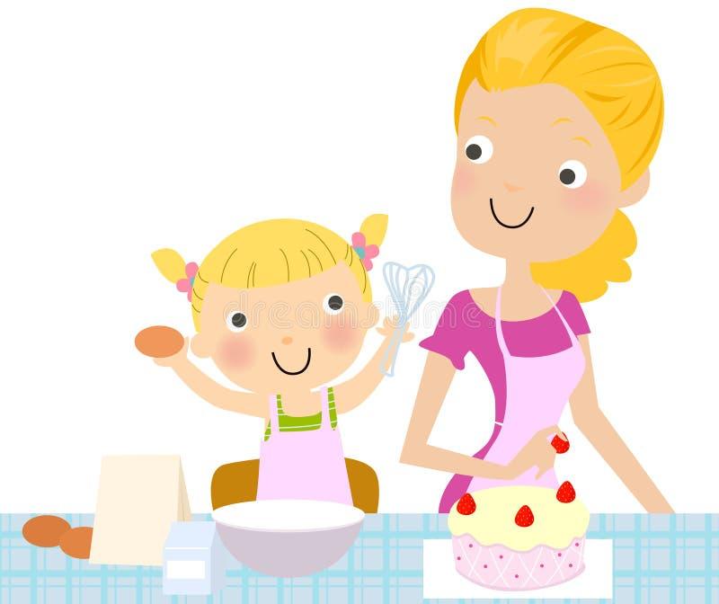 做母亲的蛋糕女儿 皇族释放例证