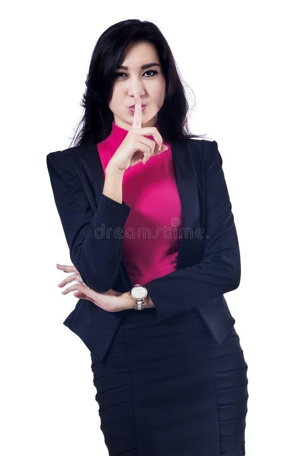 做沈默姿态的女实业家 免版税库存图片