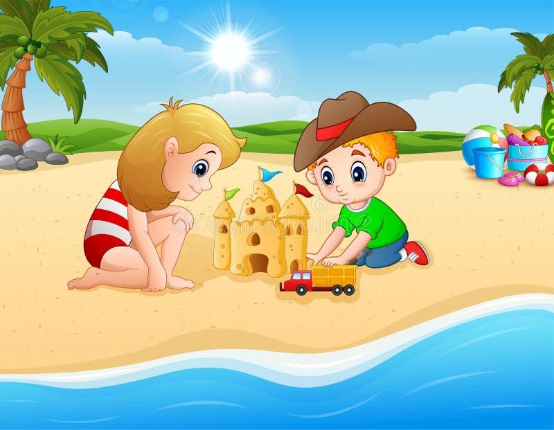 做沙子的孩子防御和交换玩具 库存例证