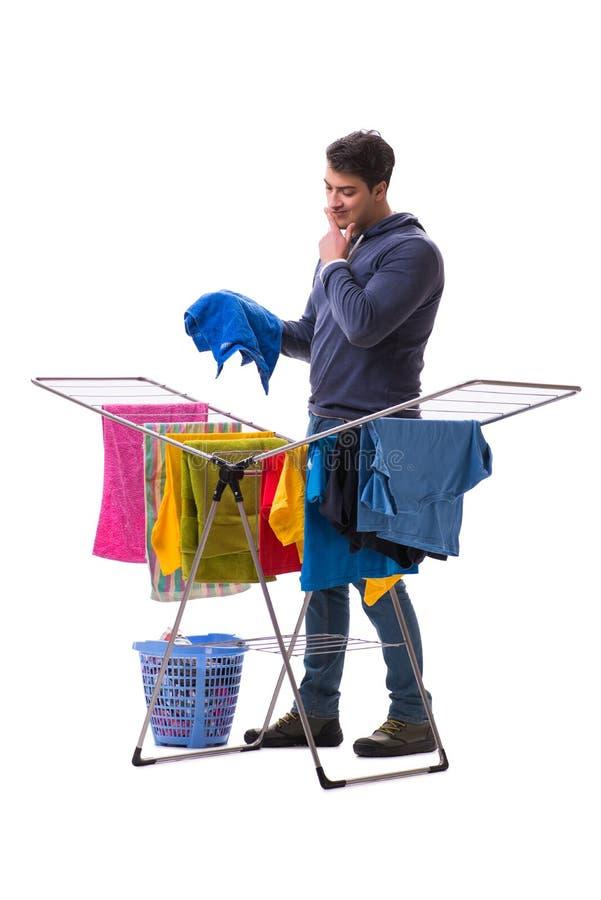 做洗衣店的丈夫人隔绝在白色 免版税库存照片
