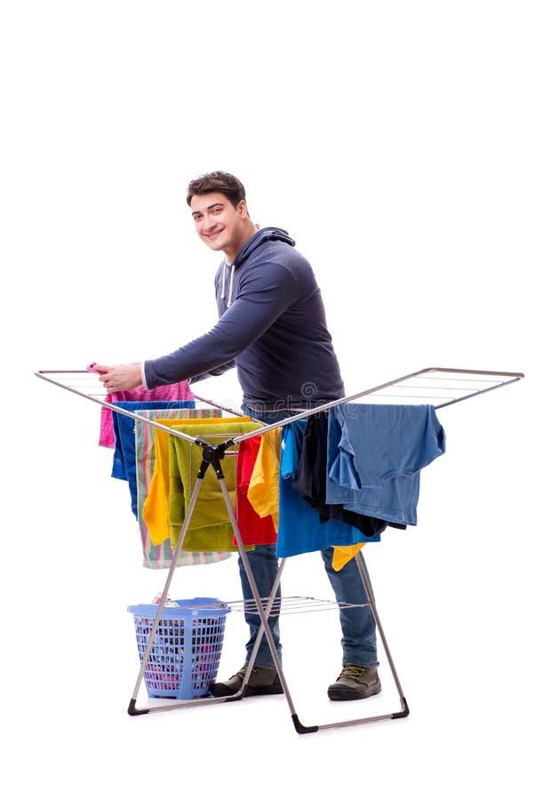做洗衣店的丈夫人隔绝在白色 图库摄影