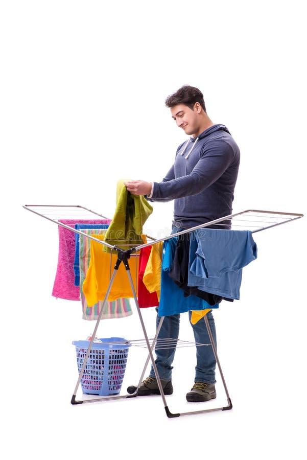 做洗衣店的丈夫人隔绝在白色 库存图片