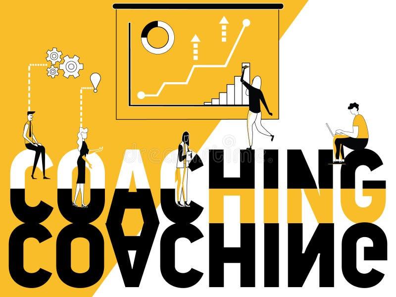 做活动的创造性词概念教练和人 向量例证