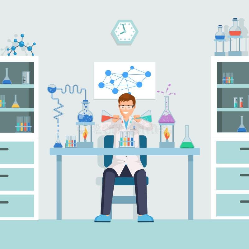 做测试传染媒介例证的试验室工怍人员 男性化学家,在试管卡通人物的研究员混合的液体 向量例证