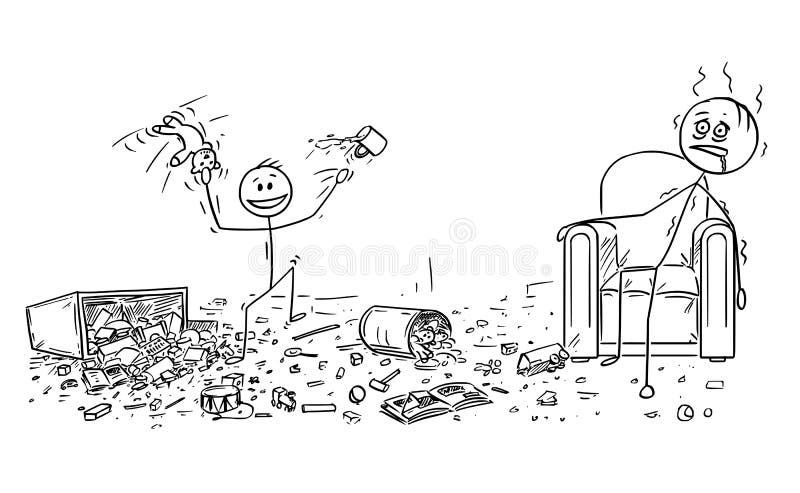 做混乱的淘气小男孩动画片,被用尽的父亲在扶手椅子坐 向量例证