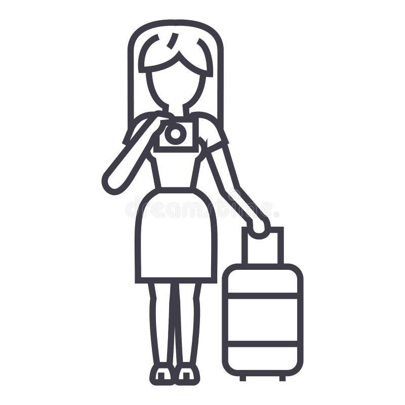 做照片传染媒介线象,标志,在背景,编辑可能的冲程的例证的旅行妇女 向量例证