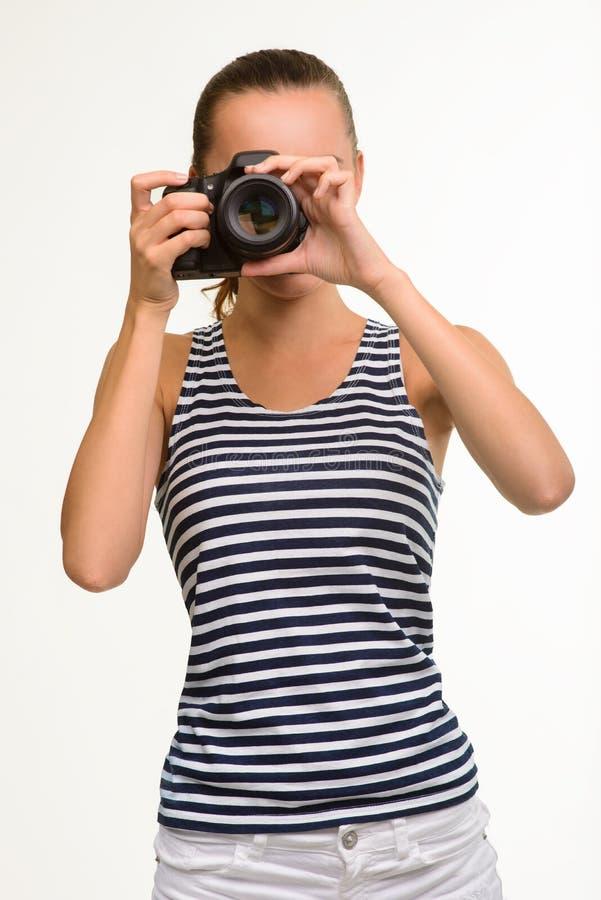 做照片的摄影师 库存照片