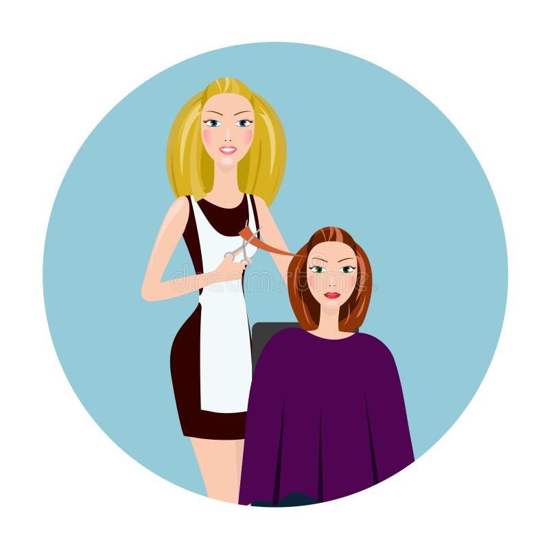 做理发的美发师 理发师沙龙的美发师 向量例证
