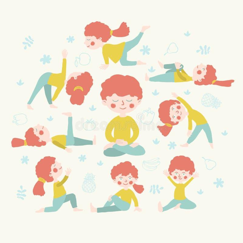 做瑜伽位置的逗人喜爱的妇女 免版税图库摄影