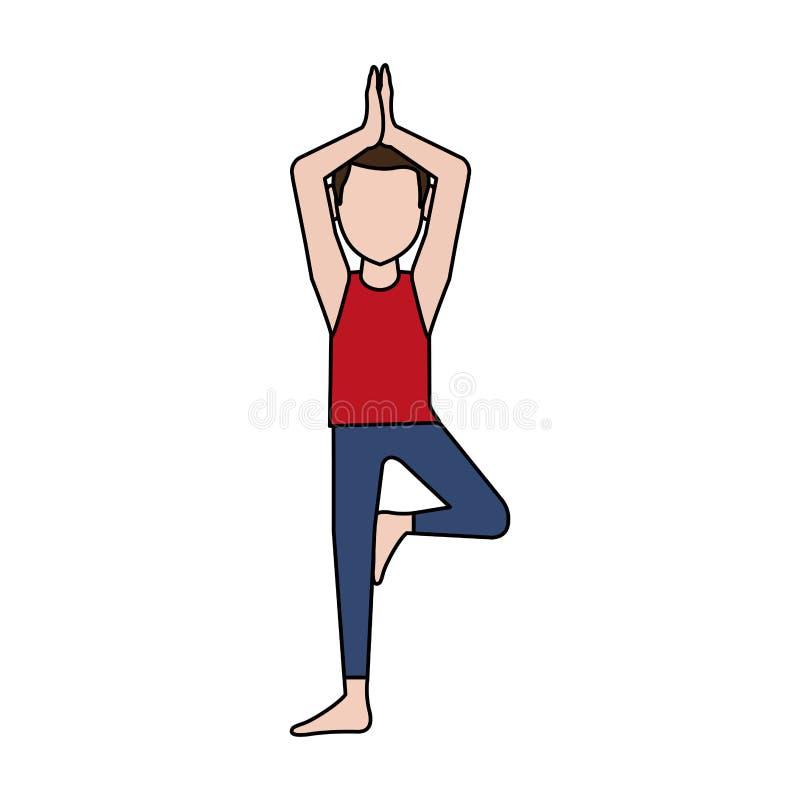 做瑜伽信奉瑜伽者象图象的人 库存例证