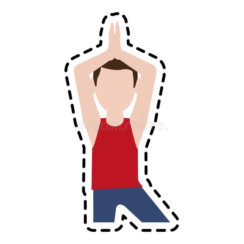 做瑜伽信奉瑜伽者象图象的人 向量例证