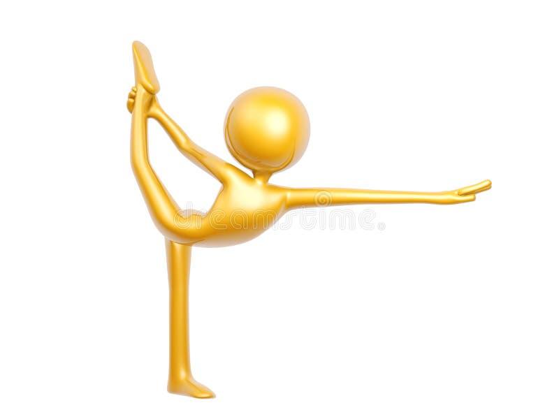 做瑜伽平衡姿势的金黄人隔绝在白色 库存例证