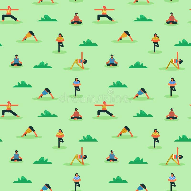 做瑜伽的不同的人民的无缝的样式 库存例证