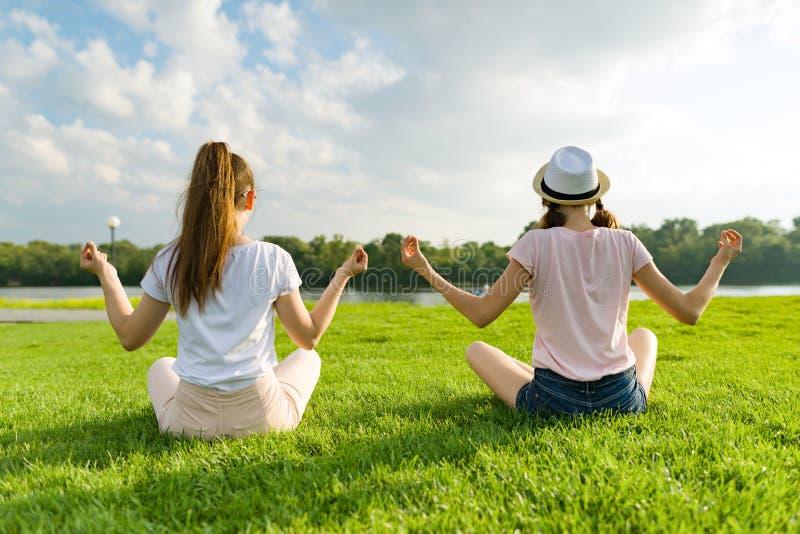做瑜伽的两个女孩在公园摆在室外,在日落,后面看法的瑜伽 图库摄影